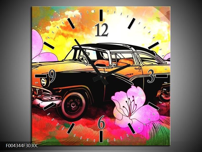 Wandklok op Canvas Oldtimer | Kleur: Paars, Geel, Rood | F004344C