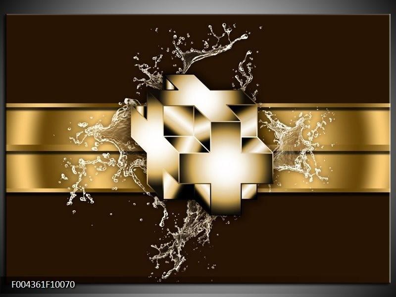 Glas schilderij Modern | Goud, Zwart, Bruin