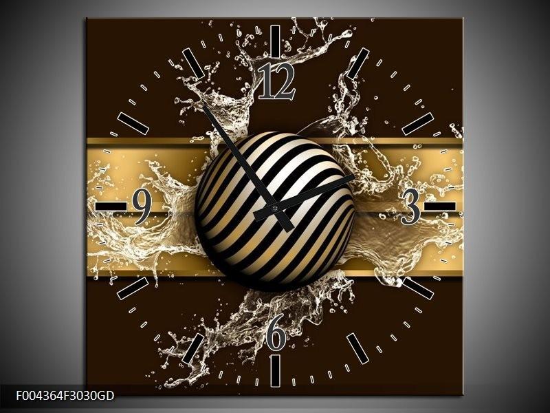 Wandklok op Glas Modern | Kleur: Goud, Zwart, Bruin | F004364CGD