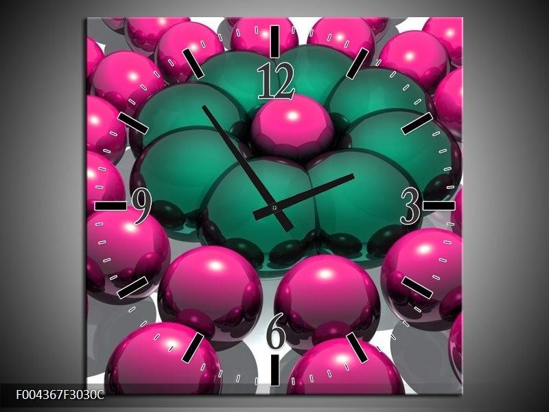 Wandklok op Canvas Modern | Kleur: Roze, Groen, Zwart | F004367C