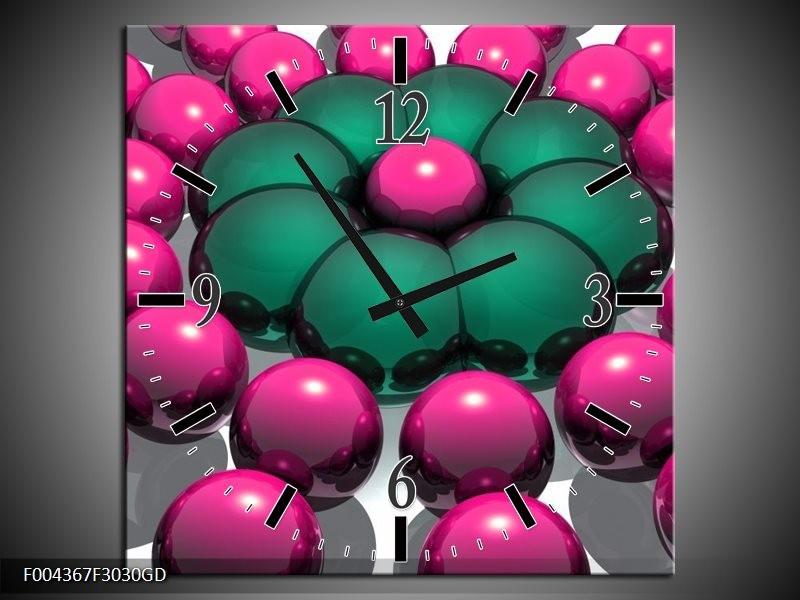 Wandklok op Glas Modern | Kleur: Roze, Groen, Zwart | F004367CGD