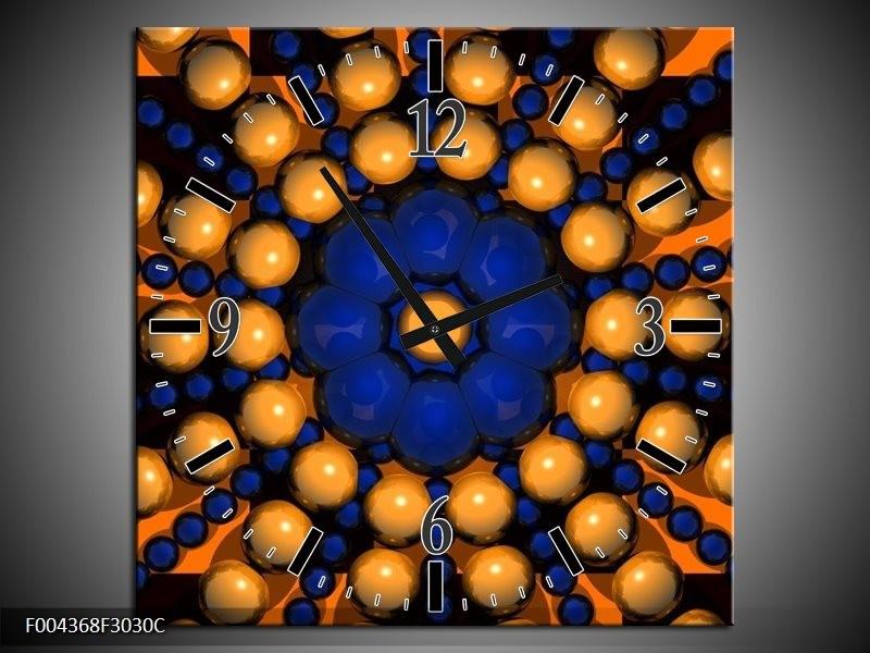 Wandklok op Canvas Modern | Kleur: Goud, Blauw, Oranje | F004368C