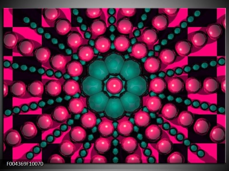 Foto canvas schilderij Modern | Roze, Groen, Zwart