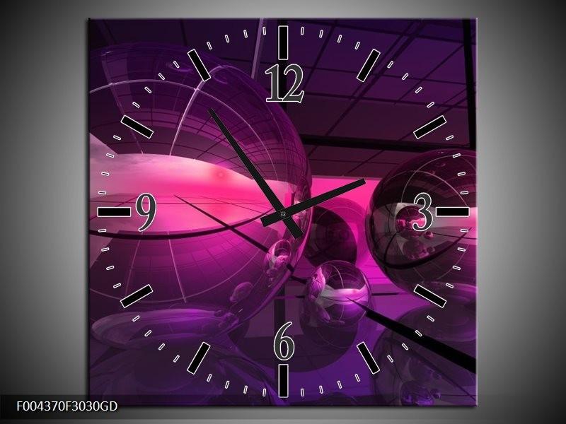 Wandklok op Glas Modern | Kleur: Paars, Roze | F004370CGD