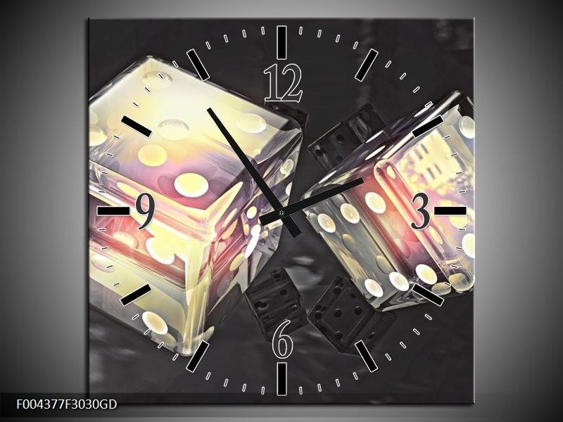 Wandklok op Glas Modern | Kleur: Geel, Grijs, Zwart | F004377CGD