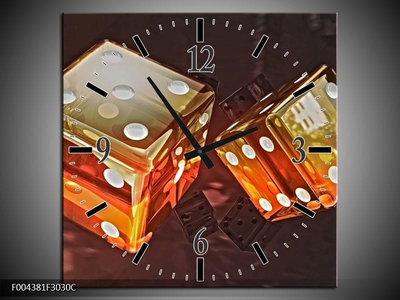 Wandklok op Canvas Modern | Kleur: Oranje, Geel, Zwart | F004381C