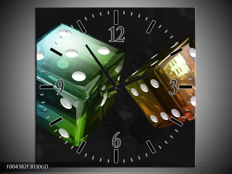 Wandklok op Glas Modern   Kleur: Groen, Blauw, Zwart   F004382CGD