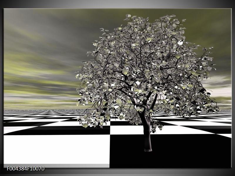 Foto canvas schilderij Boom | Grijs, Zwart, Wit