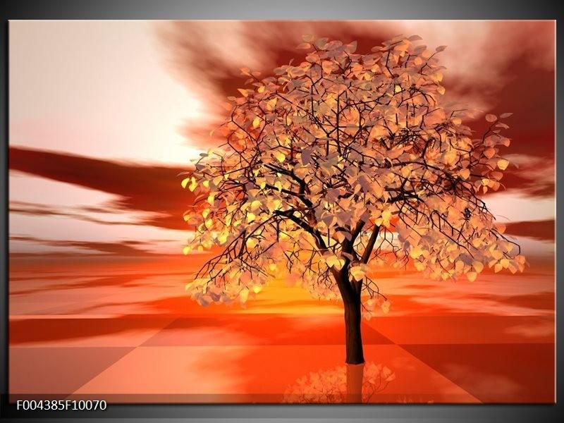 Foto canvas schilderij Boom   Geel, Rood, Zwart
