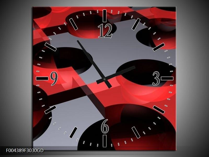 Wandklok op Glas Modern | Kleur: Rood, Grijs | F004389CGD