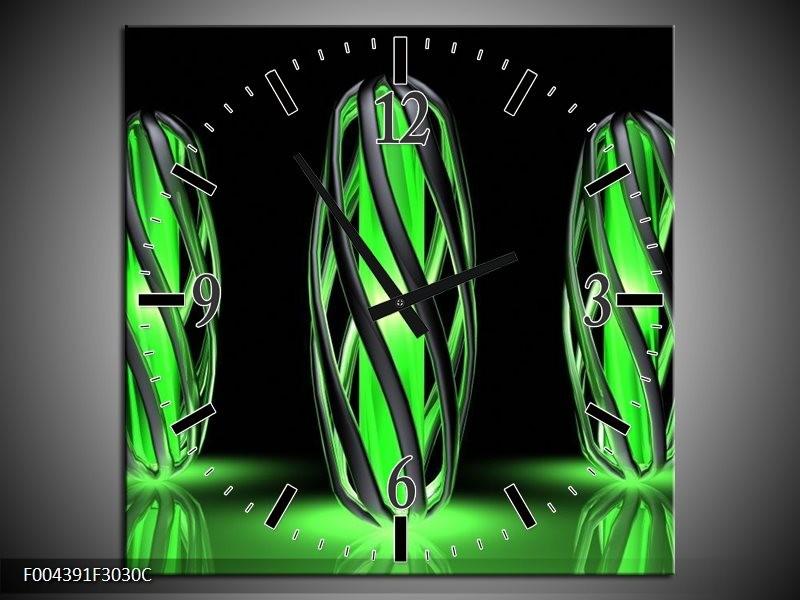Wandklok op Canvas Design | Kleur: Groen, Zwart | F004391C