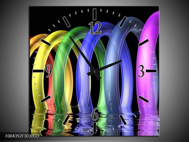 Wandklok op Glas Design   Kleur: Geel, Paars, Blauw   F004392CGD