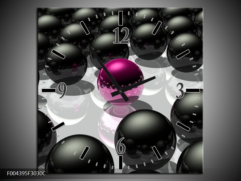 Wandklok op Canvas Design | Kleur: Roze, Zwart, Grijs | F004395C