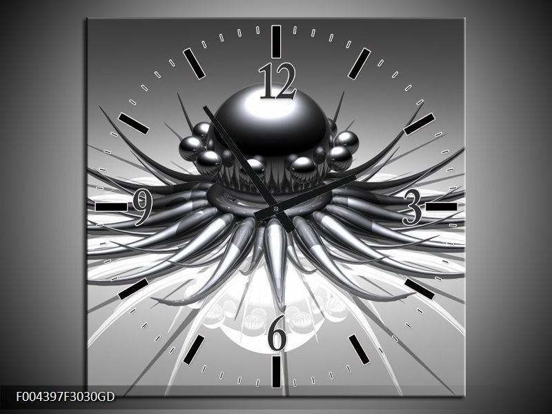 Wandklok op Glas Design | Kleur: Wit, Zwart, Grijs | F004397CGD
