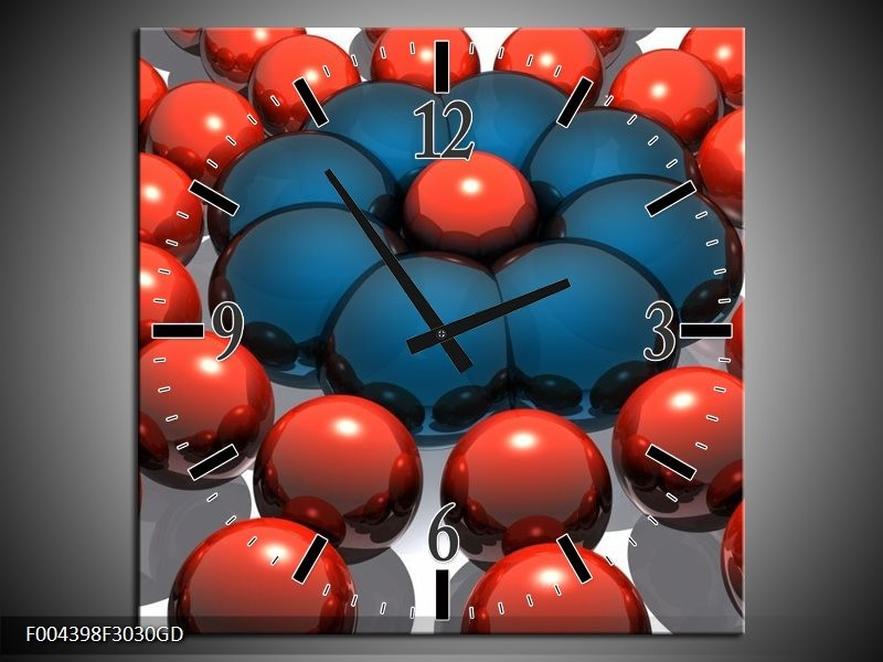 Wandklok op Glas Design | Kleur: Rood, Blauw, Grijs | F004398CGD