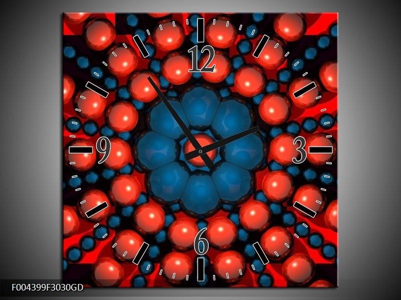 Wandklok op Glas Design   Kleur: Blauw, Rood   F004399CGD