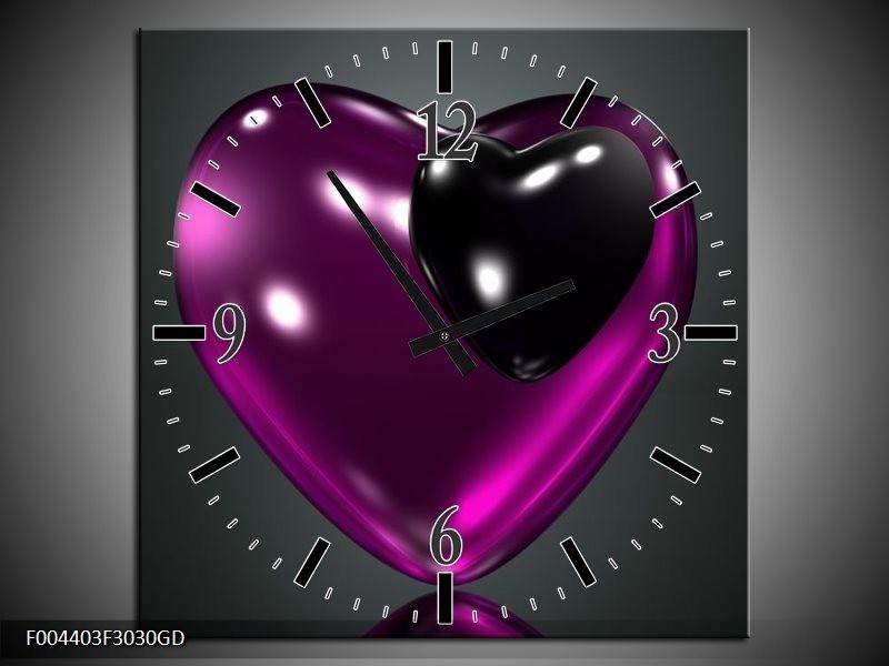 Wandklok op Glas Hart | Kleur: Paars, Zwart, Grijs | F004403CGD