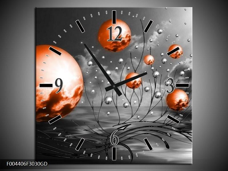 Wandklok op Glas Design | Kleur: Oranje, Grijs, Zwart | F004406CGD