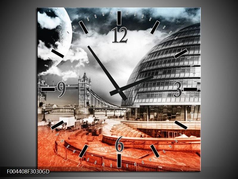 Wandklok op Glas Modern   Kleur: Rood, Grijs, Zwart   F004408CGD