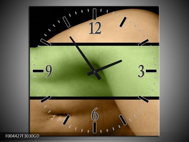 Wandklok op Glas Lichaam   Kleur: Groen, Bruin, Zwart   F004427CGD