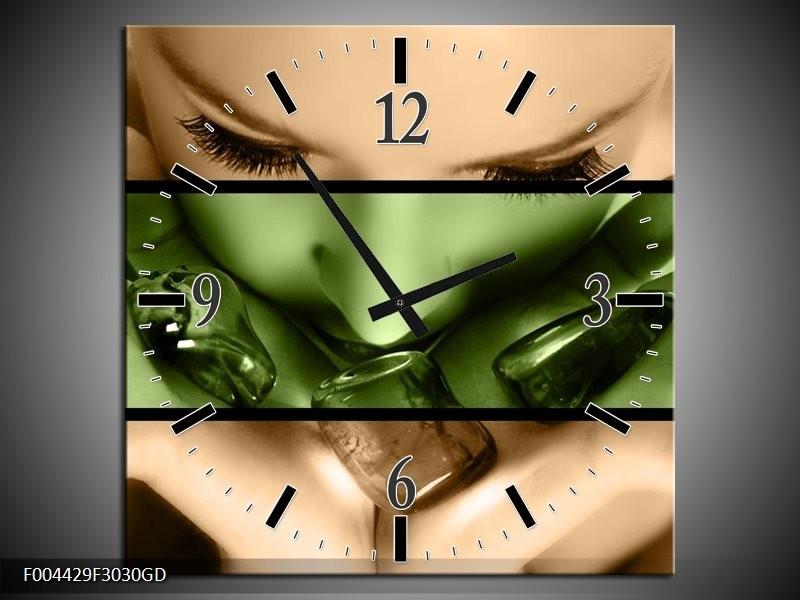 Wandklok op Glas Gezicht | Kleur: Groen, Bruin | F004429CGD