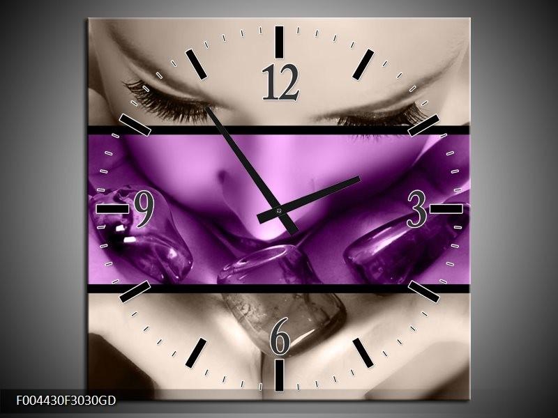 Wandklok op Glas Gezicht | Kleur: Paars, Grijs, Zwart | F004430CGD