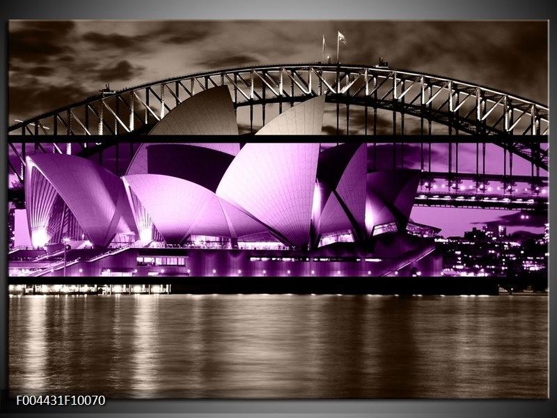 Foto canvas schilderij Sydney | Paars, Grijs, Zwart