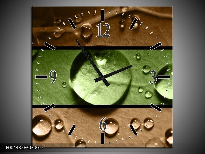 Wandklok op Glas Modern | Kleur: Groen, Bruin | F004432CGD
