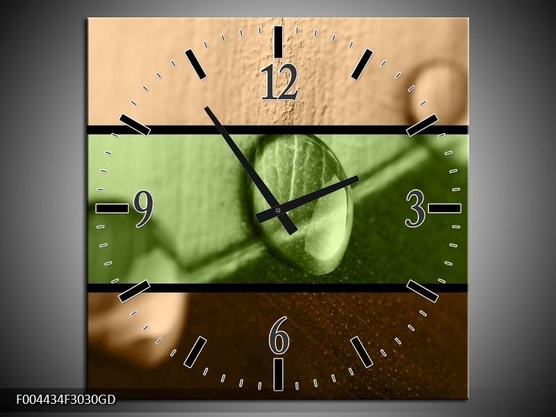 Wandklok op Glas Modern | Kleur: Groen, Bruin | F004434CGD