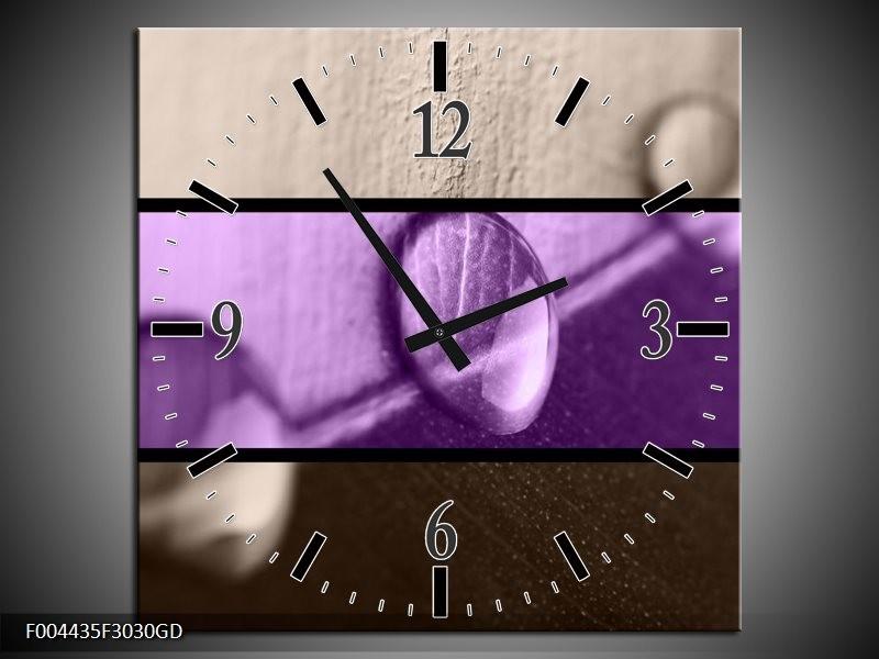 Wandklok op Glas Druppels | Kleur: Paars, Bruin | F004435CGD