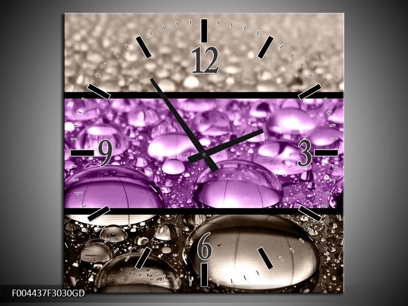 Wandklok op Glas Druppels   Kleur: Paars, Grijs   F004437CGD