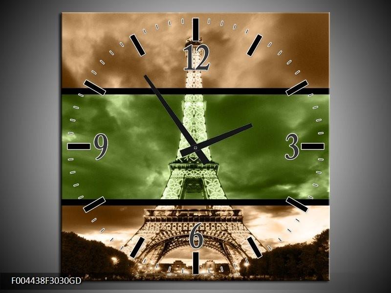 Wandklok op Glas Parijs   Kleur: Groen, Bruin   F004438CGD