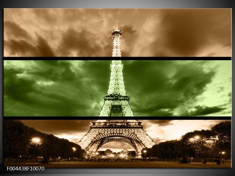 Glas schilderij Parijs   Groen, Bruin