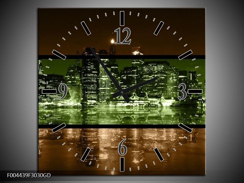 Wandklok op Glas Steden   Kleur: Groen, Bruin   F004439CGD