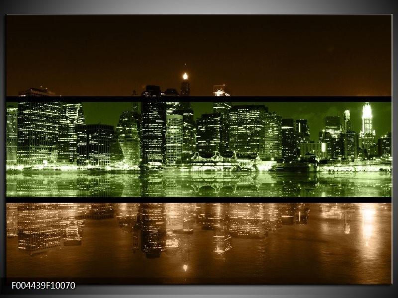 Glas schilderij Steden   Groen, Bruin