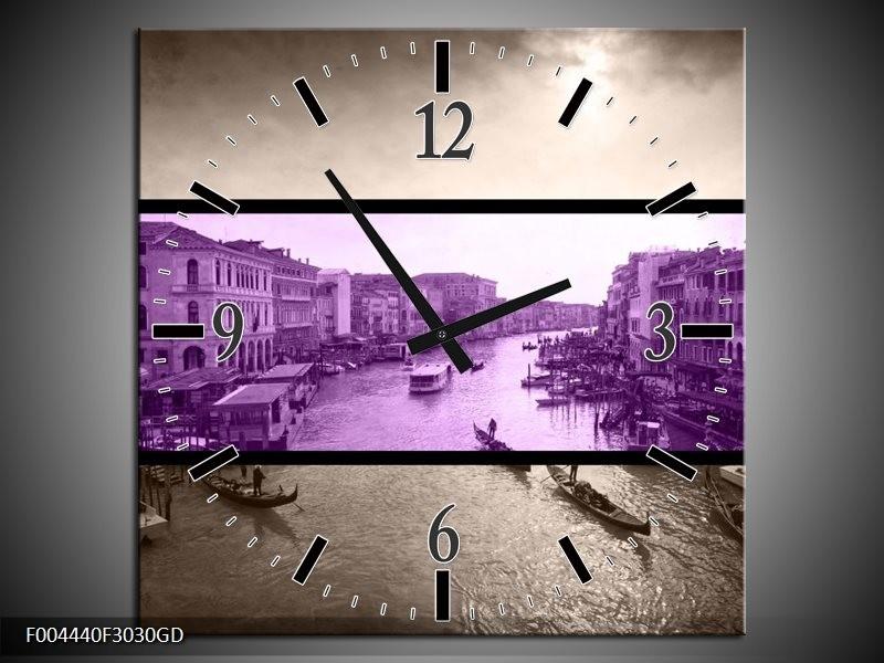 Wandklok op Glas Venetie | Kleur: Paars, Grijs | F004440CGD
