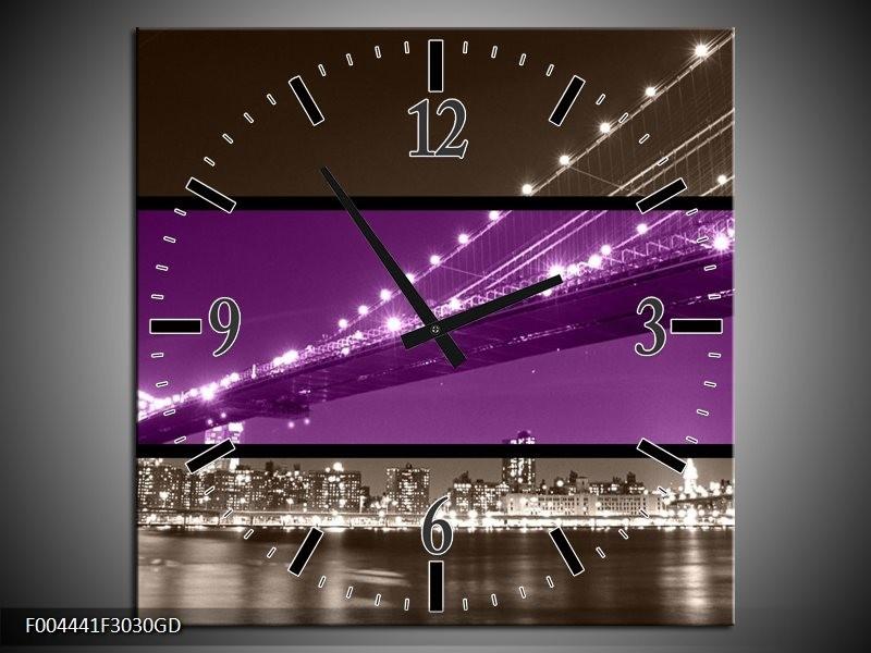 Wandklok op Glas Brug | Kleur: Paars, Grijs | F004441CGD