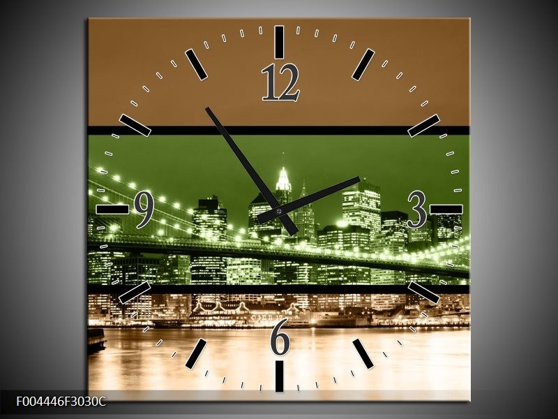 Wandklok op Canvas Brug | Kleur: Groen, Bruin, Zwart | F004446C