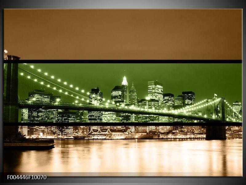 Glas schilderij Brug   Groen, Bruin, Zwart