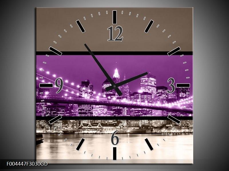 Wandklok op Glas Brug | Kleur: Paars, Grijs, Zwart | F004447CGD