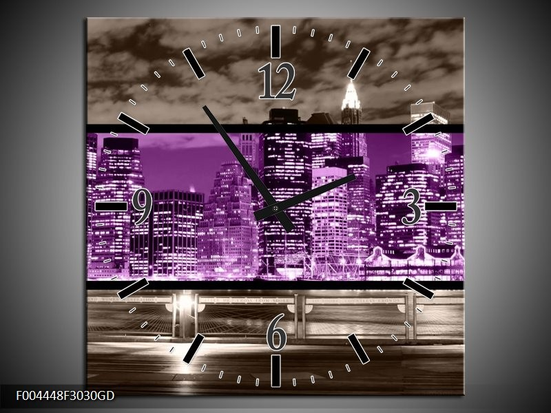 Wandklok op Glas Modern | Kleur: Paars, Grijs, Zwart | F004448CGD
