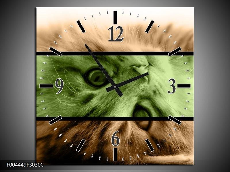 Wandklok op Canvas Kat | Kleur: Groen, Bruin | F004449C
