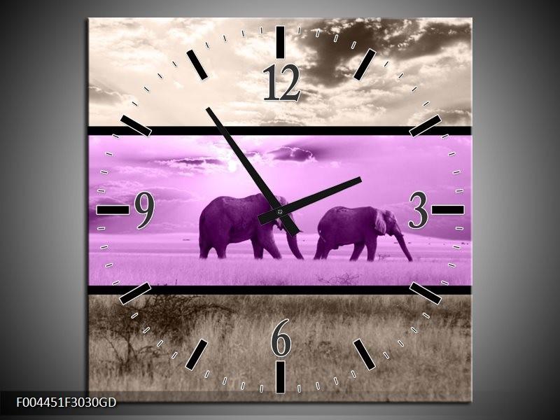 Wandklok op Glas Olifant | Kleur: Paars, Bruin | F004451CGD