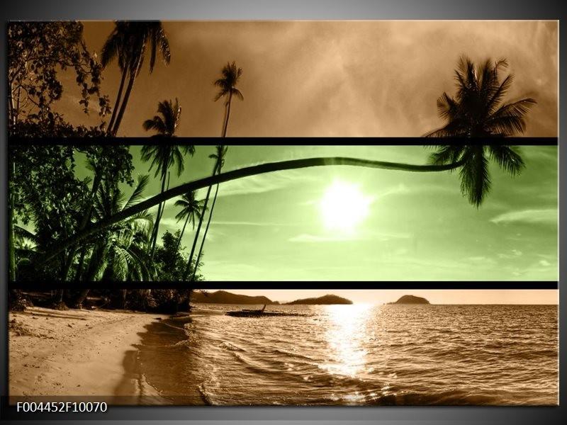 Glas schilderij Strand   Groen, Bruin, Zwart