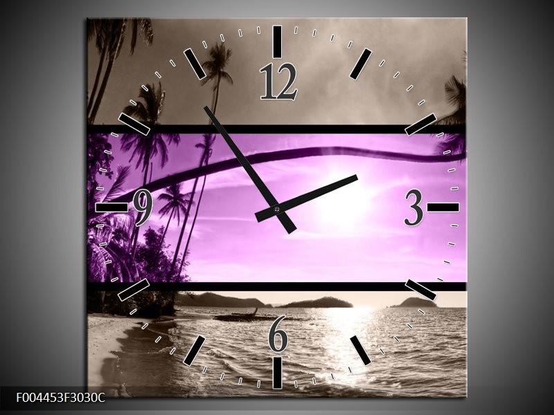 Wandklok op Canvas Strand | Kleur: Paars, Grijs, Zwart | F004453C