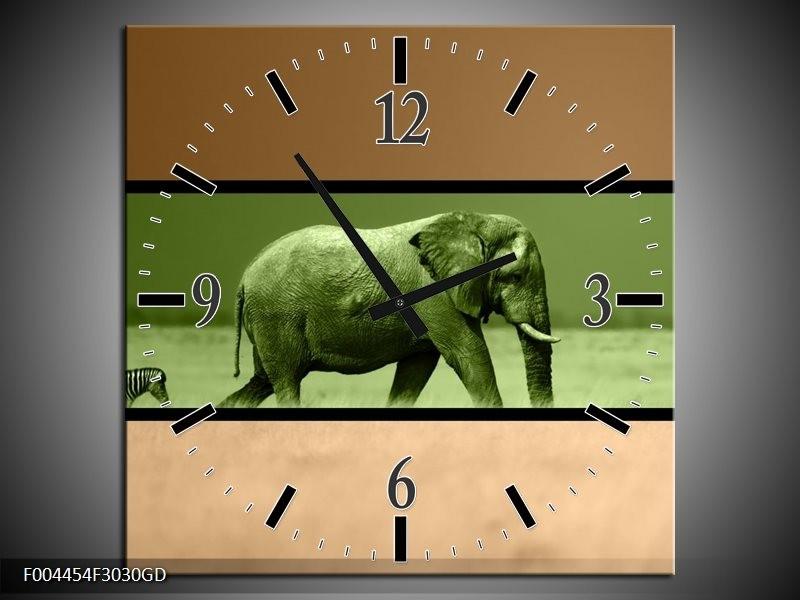 Wandklok op Glas Olifant | Kleur: Groen, Bruin | F004454CGD