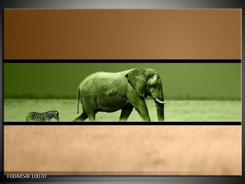 Glas schilderij Olifant | Groen, Bruin