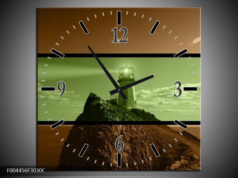 Wandklok op Canvas Vuurtoren | Kleur: Groen, Bruin, Zwart | F004456C