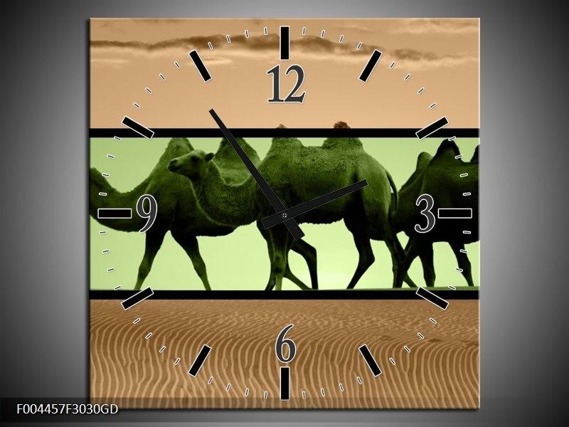Wandklok op Glas Kameel   Kleur: Groen, Bruin, Zwart   F004457CGD