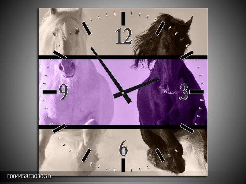Wandklok op Glas Paard | Kleur: Paars, Zwart, Grijs | F004458CGD